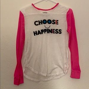 """white and hot pink """"choose happiness"""" long sleeve"""